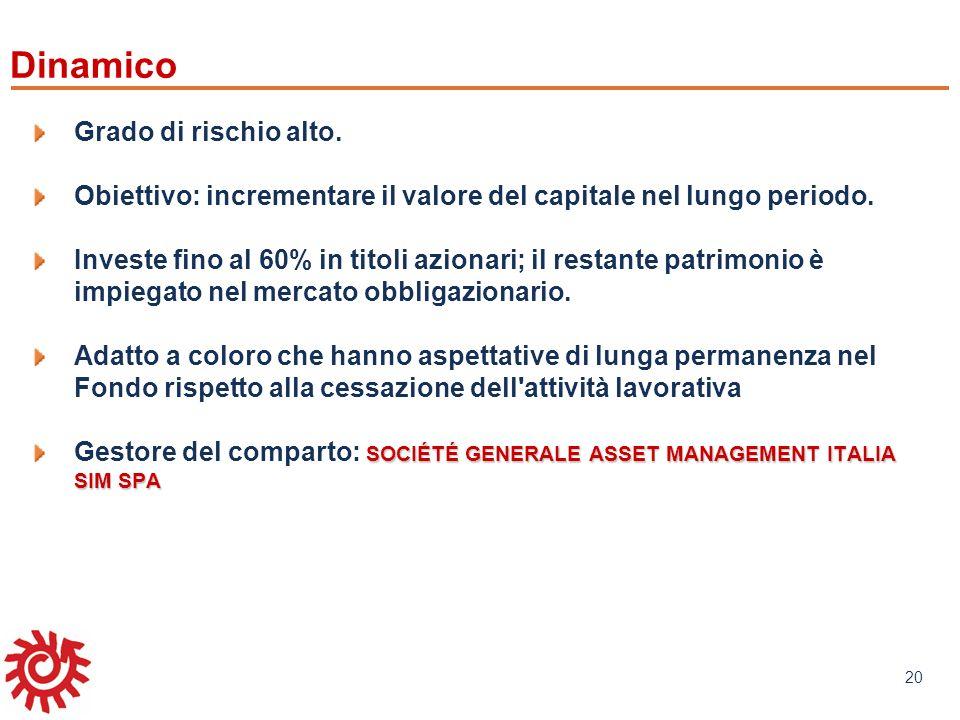 www.mefop.it 20 Grado di rischio alto. Obiettivo: incrementare il valore del capitale nel lungo periodo. Investe fino al 60% in titoli azionari; il re