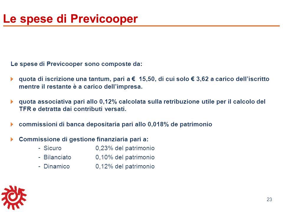 www.mefop.it 23 Le spese di Previcooper Le spese di Previcooper sono composte da: quota di iscrizione una tantum, pari a 15,50, di cui solo 3,62 a car