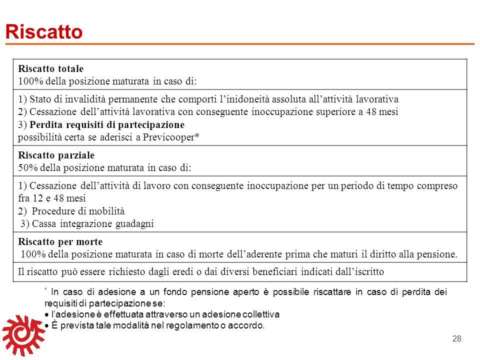 www.mefop.it 28 Riscatto Riscatto totale 100% della posizione maturata in caso di: 1) Stato di invalidità permanente che comporti linidoneità assoluta