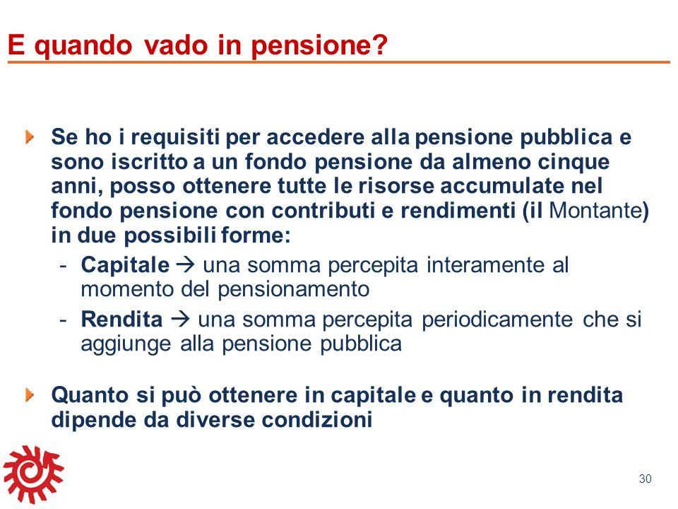 www.mefop.it 30 E quando vado in pensione? Se ho i requisiti per accedere alla pensione pubblica e sono iscritto a un fondo pensione da almeno cinque