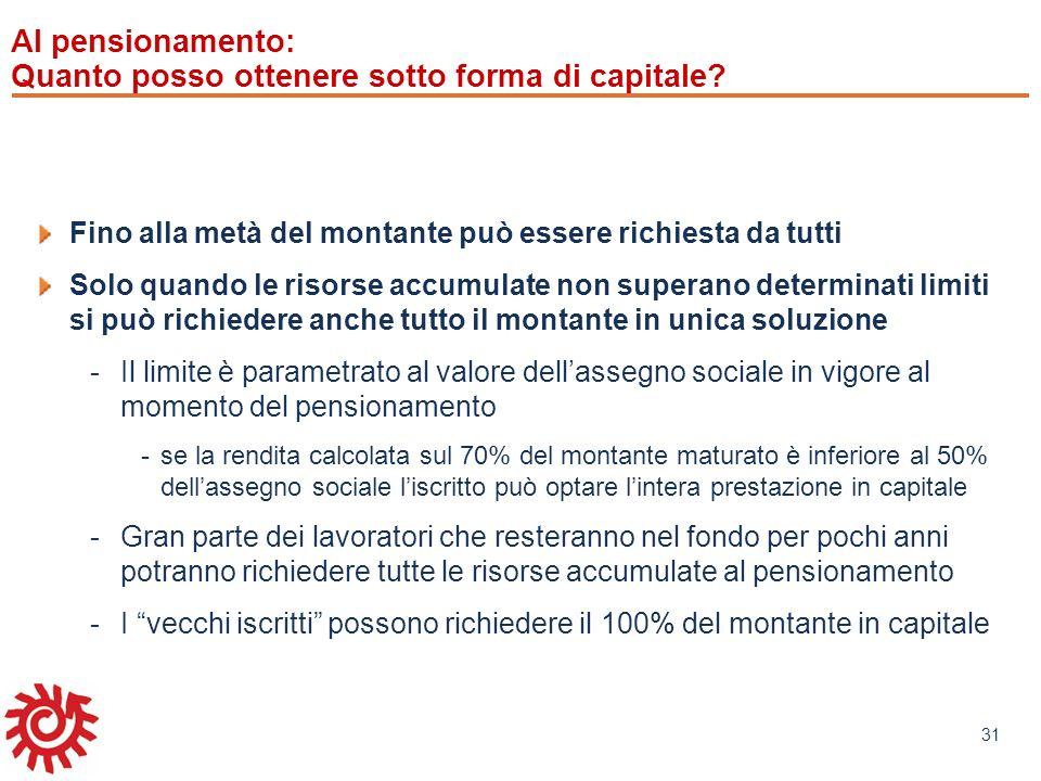 www.mefop.it 31 Al pensionamento: Quanto posso ottenere sotto forma di capitale? Fino alla metà del montante può essere richiesta da tutti Solo quando