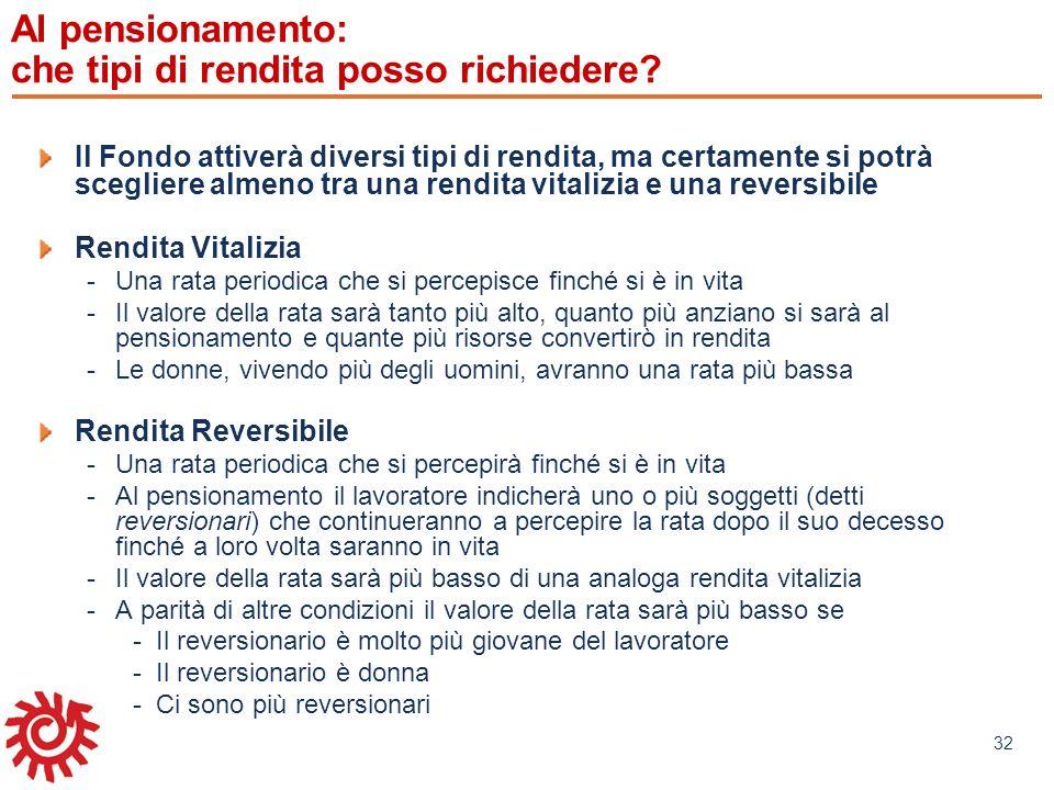 www.mefop.it 32 Al pensionamento: che tipi di rendita posso richiedere? Il Fondo attiverà diversi tipi di rendita, ma certamente si potrà scegliere al