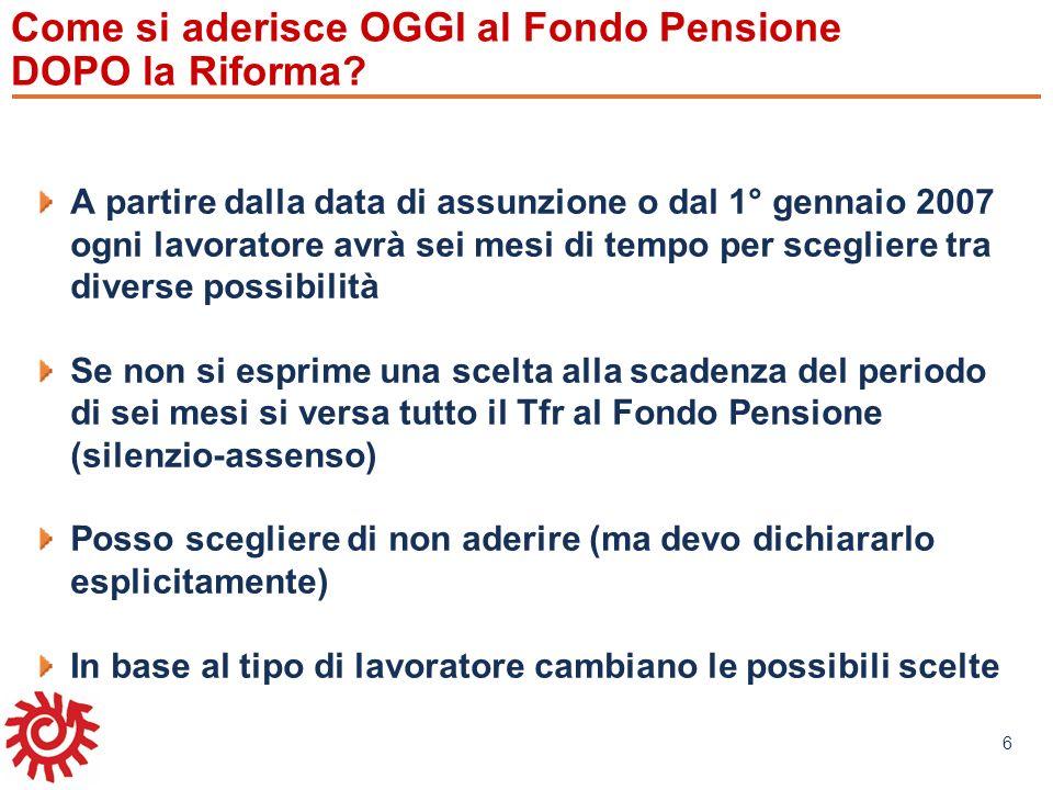www.mefop.it 6 Come si aderisce OGGI al Fondo Pensione DOPO la Riforma? A partire dalla data di assunzione o dal 1° gennaio 2007 ogni lavoratore avrà