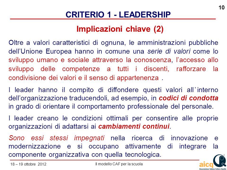 Lautovalutazione delle scuole secondo il modello CAF Il modello CAF per la scuola 18 – 19 ottobre 2012 10 Oltre a valori caratteristici di ognuna, le
