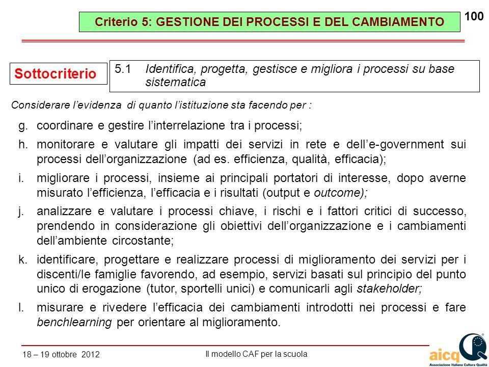 Lautovalutazione delle scuole secondo il modello CAF Il modello CAF per la scuola 18 – 19 ottobre 2012 100 g.coordinare e gestire linterrelazione tra