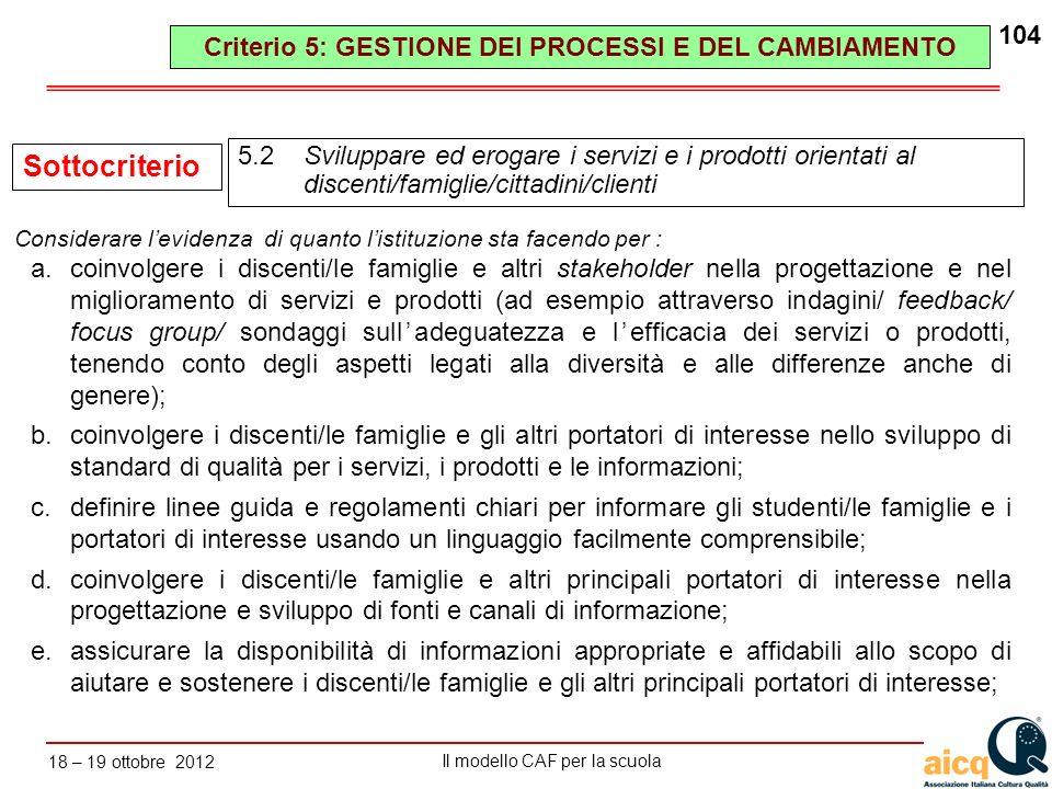Lautovalutazione delle scuole secondo il modello CAF Il modello CAF per la scuola 18 – 19 ottobre 2012 104 a.coinvolgere i discenti/le famiglie e altr
