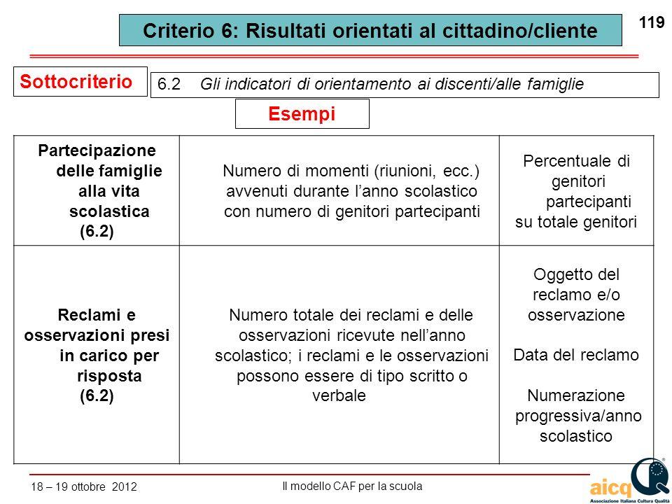 Lautovalutazione delle scuole secondo il modello CAF Il modello CAF per la scuola 18 – 19 ottobre 2012 119 6.2 Gli indicatori di orientamento ai disce