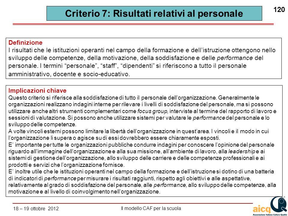 Lautovalutazione delle scuole secondo il modello CAF Il modello CAF per la scuola 18 – 19 ottobre 2012 120 Implicazioni chiave Questo criterio si rife