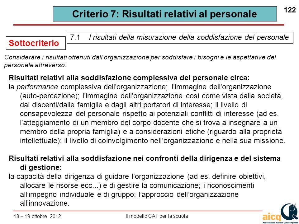 Lautovalutazione delle scuole secondo il modello CAF Il modello CAF per la scuola 18 – 19 ottobre 2012 122 Criterio 7: Risultati relativi al personale