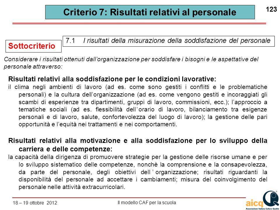 Lautovalutazione delle scuole secondo il modello CAF Il modello CAF per la scuola 18 – 19 ottobre 2012 123 Criterio 7: Risultati relativi al personale