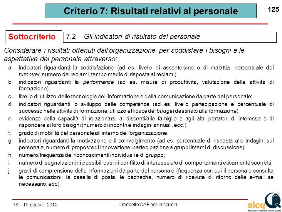 Lautovalutazione delle scuole secondo il modello CAF Il modello CAF per la scuola 18 – 19 ottobre 2012 125 a.indicatori riguardanti la soddisfazione (