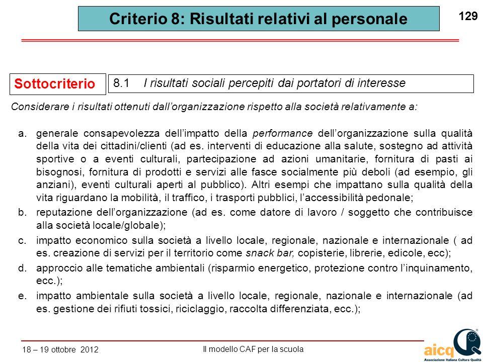 Lautovalutazione delle scuole secondo il modello CAF Il modello CAF per la scuola 18 – 19 ottobre 2012 129 Criterio 8: Risultati relativi al personale