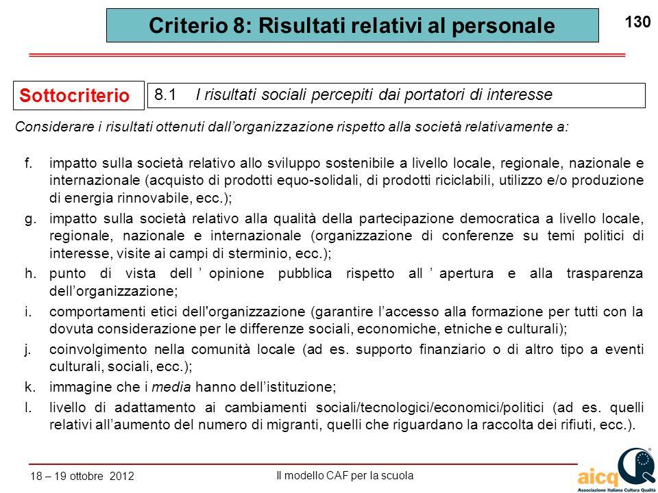 Lautovalutazione delle scuole secondo il modello CAF Il modello CAF per la scuola 18 – 19 ottobre 2012 130 Criterio 8: Risultati relativi al personale