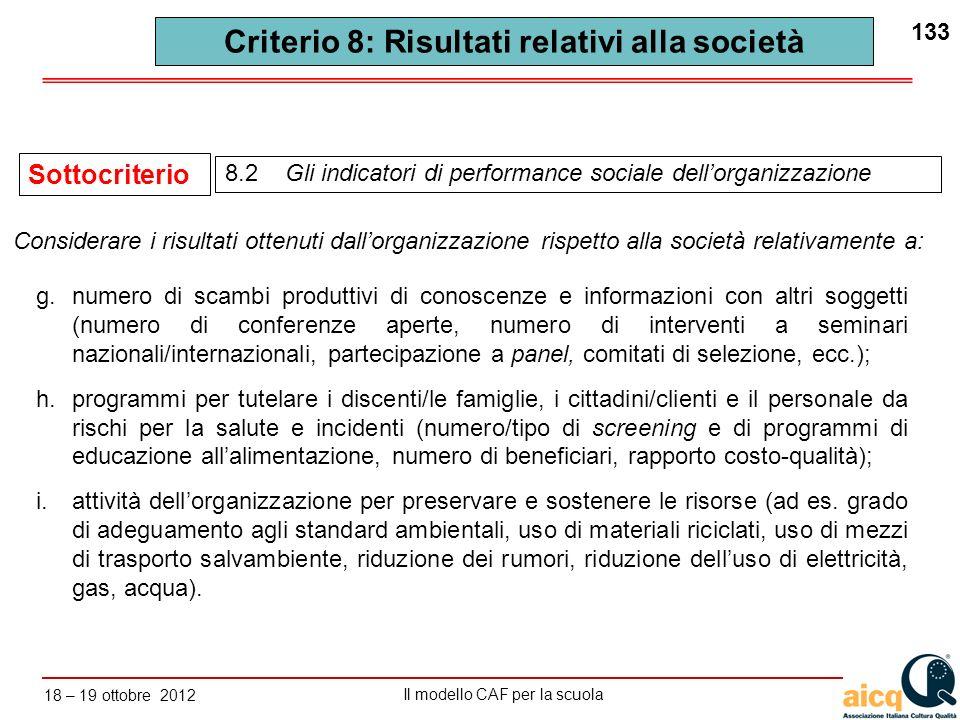 Lautovalutazione delle scuole secondo il modello CAF Il modello CAF per la scuola 18 – 19 ottobre 2012 133 8.2 Gli indicatori di performance sociale d