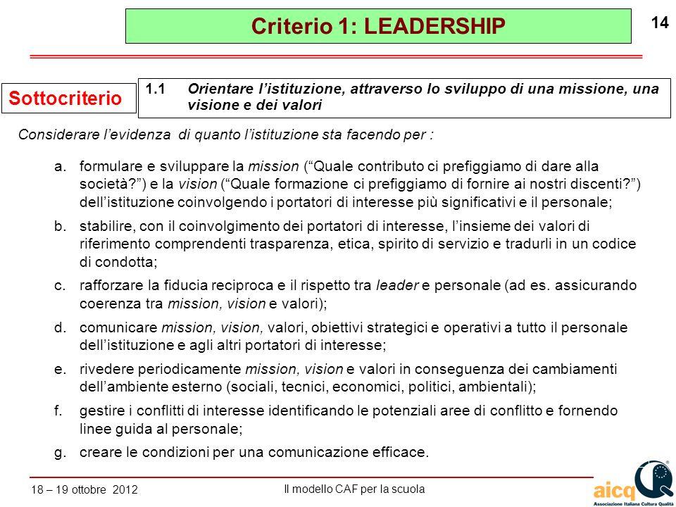Lautovalutazione delle scuole secondo il modello CAF Il modello CAF per la scuola 18 – 19 ottobre 2012 14 a.formulare e sviluppare la mission (Quale c