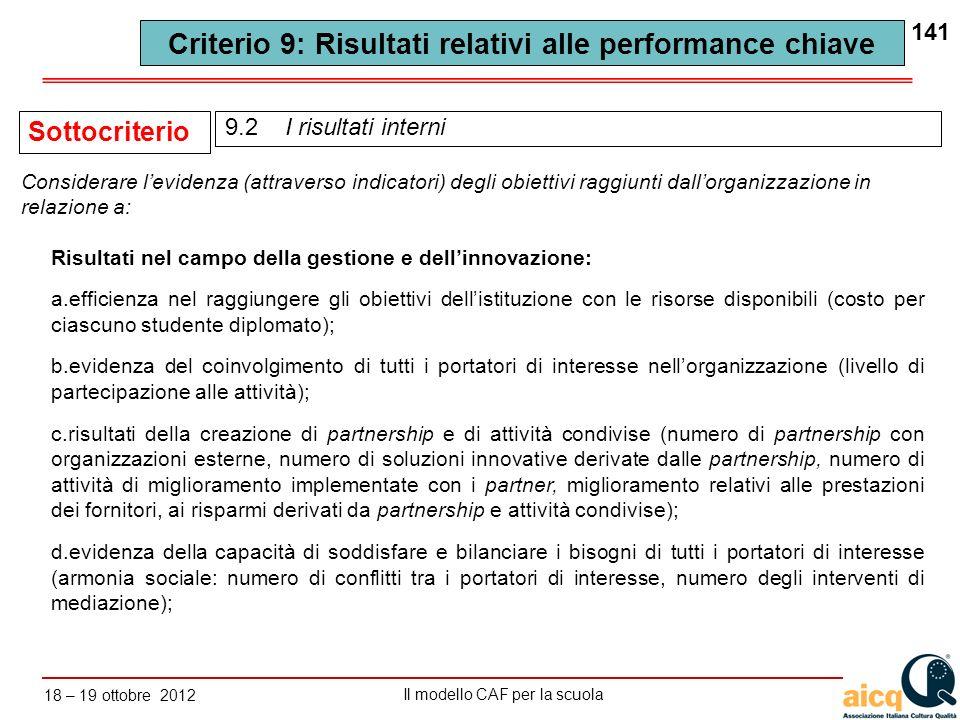 Lautovalutazione delle scuole secondo il modello CAF Il modello CAF per la scuola 18 – 19 ottobre 2012 141 Risultati nel campo della gestione e dellin