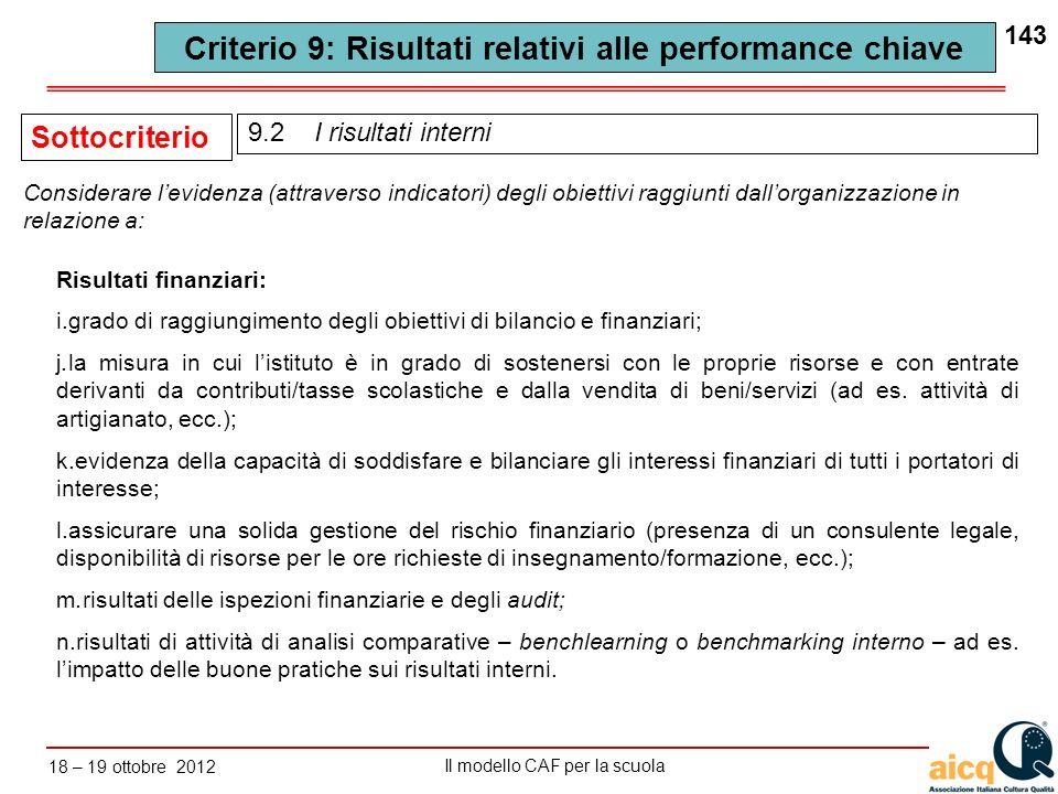 Lautovalutazione delle scuole secondo il modello CAF Il modello CAF per la scuola 18 – 19 ottobre 2012 143 Risultati finanziari: i.grado di raggiungim