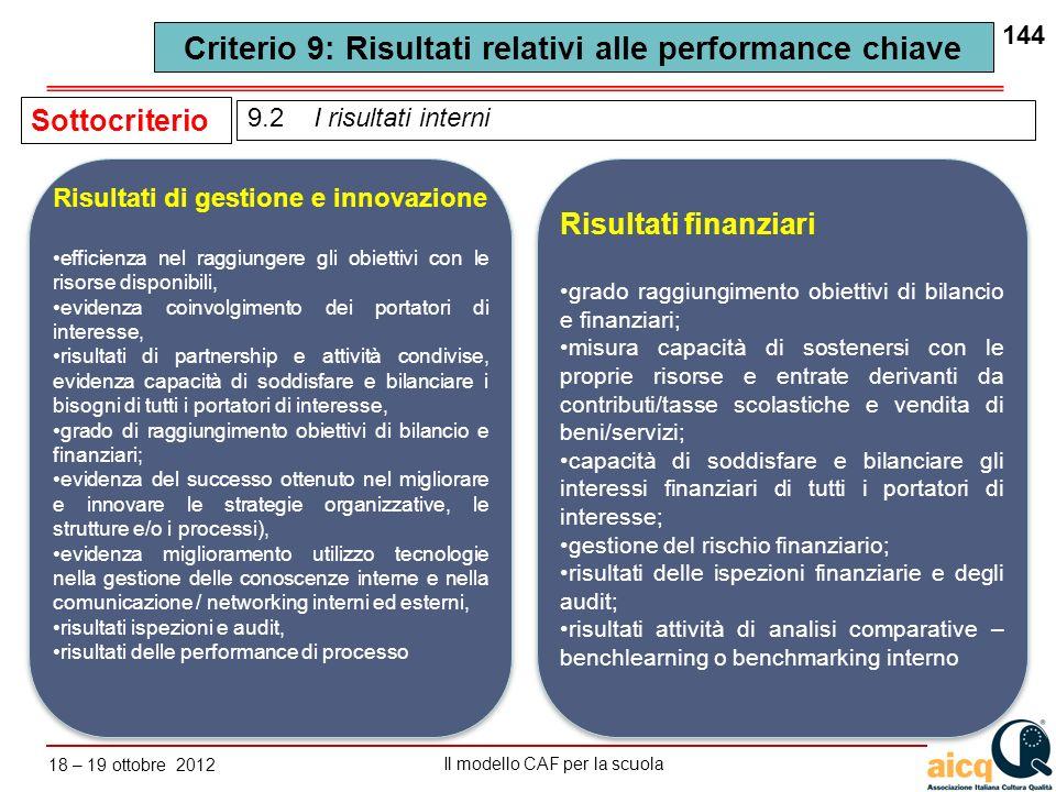 Lautovalutazione delle scuole secondo il modello CAF Il modello CAF per la scuola 18 – 19 ottobre 2012 144 9.2 I risultati interni Sottocriterio Risul
