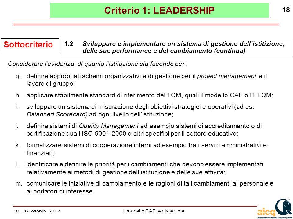 Lautovalutazione delle scuole secondo il modello CAF Il modello CAF per la scuola 18 – 19 ottobre 2012 18 g.definire appropriati schemi organizzativi
