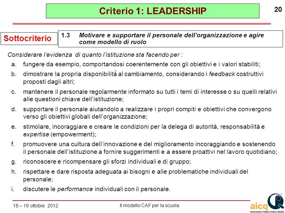 Lautovalutazione delle scuole secondo il modello CAF Il modello CAF per la scuola 18 – 19 ottobre 2012 20 a.fungere da esempio, comportandosi coerente