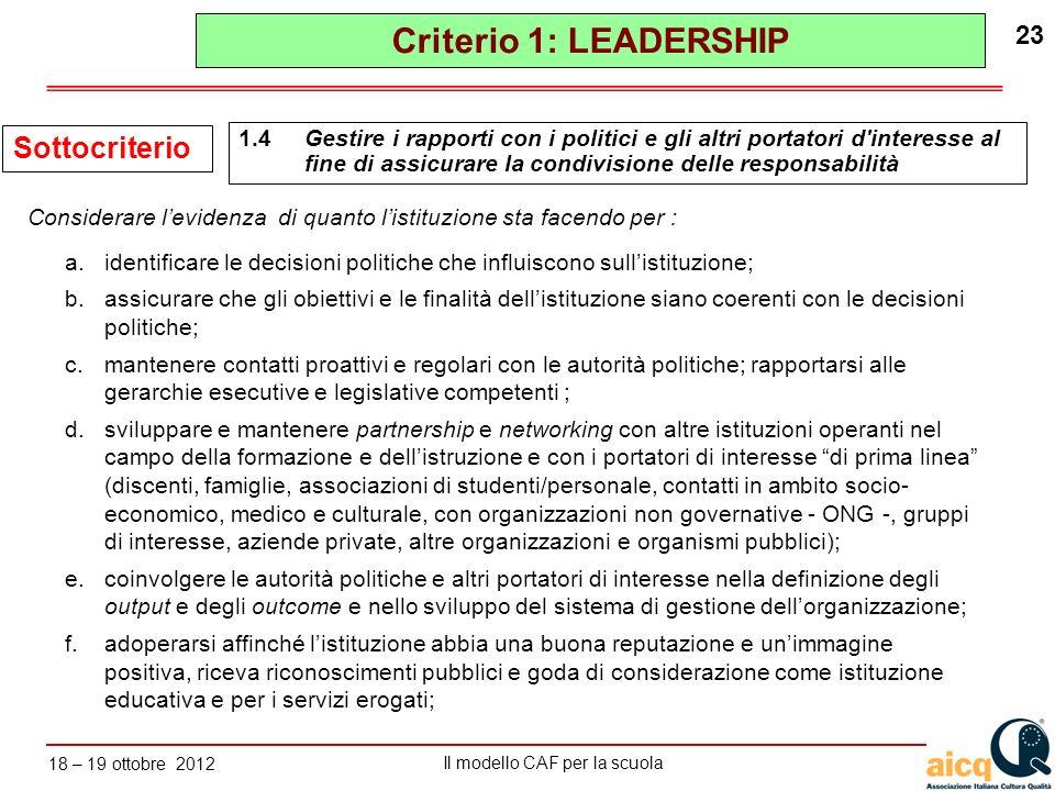 Lautovalutazione delle scuole secondo il modello CAF Il modello CAF per la scuola 18 – 19 ottobre 2012 23 a.identificare le decisioni politiche che in