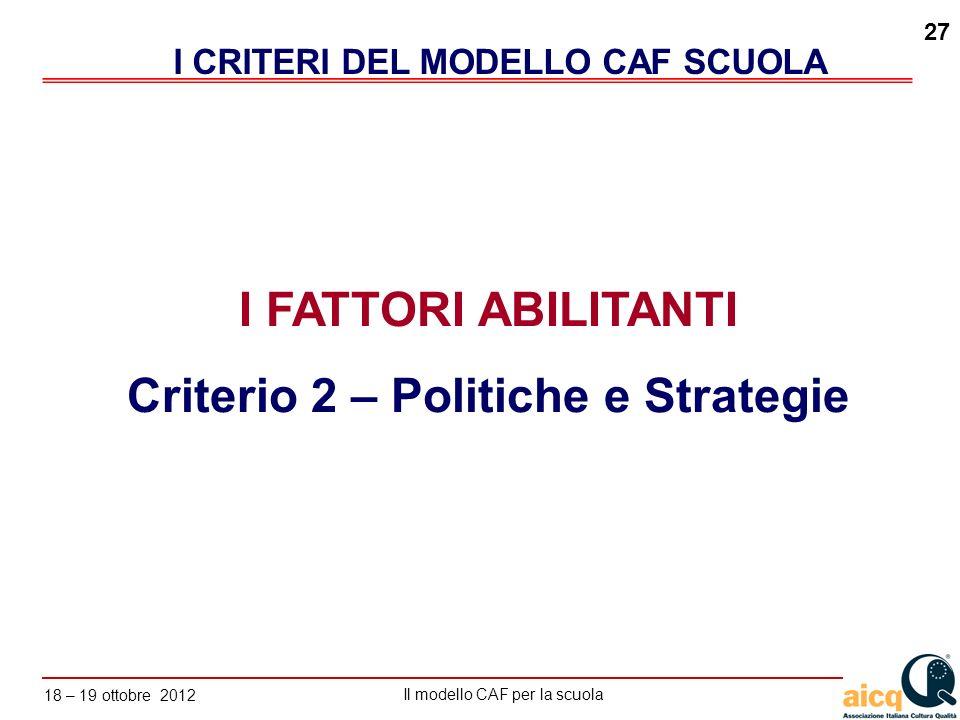 Lautovalutazione delle scuole secondo il modello CAF Il modello CAF per la scuola 18 – 19 ottobre 2012 27 I FATTORI ABILITANTI Criterio 2 – Politiche