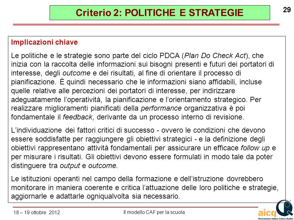 Lautovalutazione delle scuole secondo il modello CAF Il modello CAF per la scuola 18 – 19 ottobre 2012 29 Implicazioni chiave Le politiche e le strate