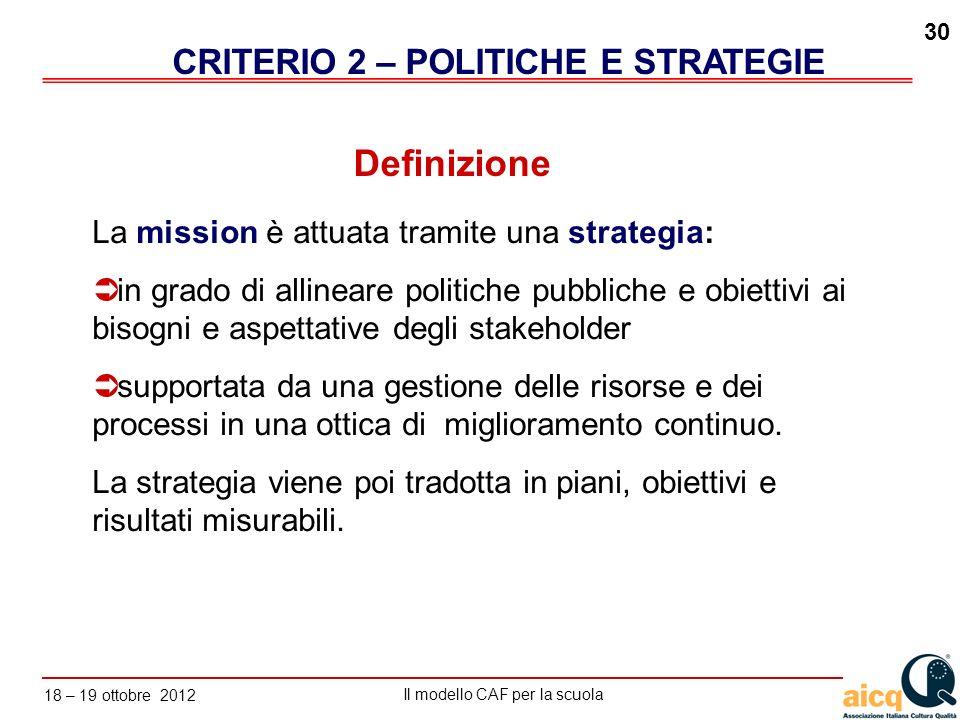 Lautovalutazione delle scuole secondo il modello CAF Il modello CAF per la scuola 18 – 19 ottobre 2012 30 La mission è attuata tramite una strategia: