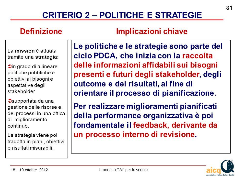 Lautovalutazione delle scuole secondo il modello CAF Il modello CAF per la scuola 18 – 19 ottobre 2012 31 La mission è attuata tramite una strategia: