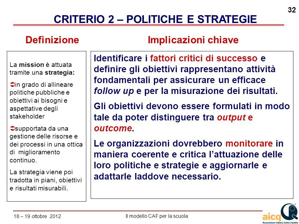 Lautovalutazione delle scuole secondo il modello CAF Il modello CAF per la scuola 18 – 19 ottobre 2012 32 La mission è attuata tramite una strategia: