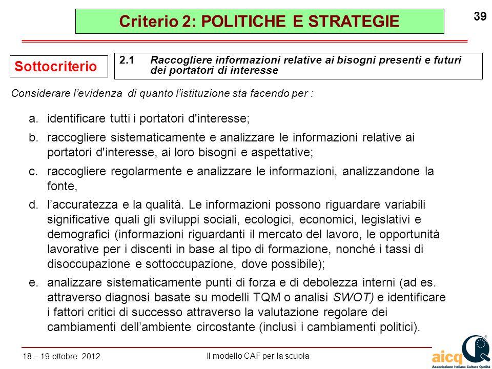 Lautovalutazione delle scuole secondo il modello CAF Il modello CAF per la scuola 18 – 19 ottobre 2012 39 a.identificare tutti i portatori d'interesse