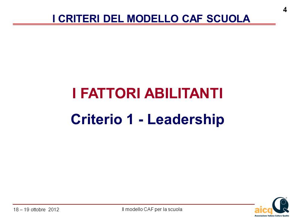 Lautovalutazione delle scuole secondo il modello CAF Il modello CAF per la scuola 18 – 19 ottobre 2012 4 I FATTORI ABILITANTI Criterio 1 - Leadership