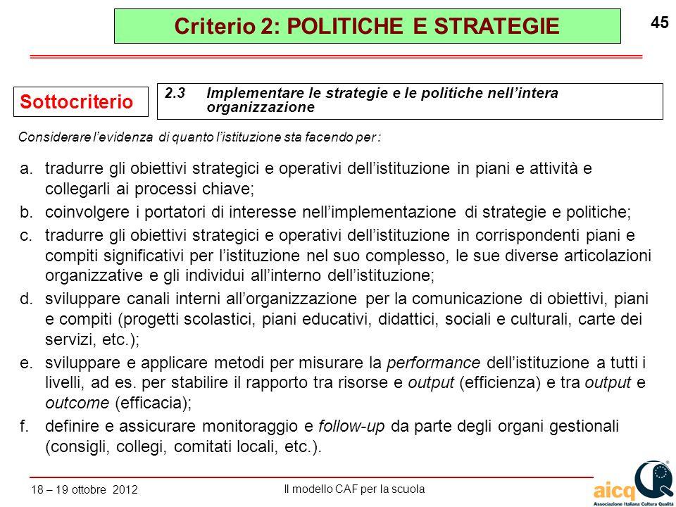 Lautovalutazione delle scuole secondo il modello CAF Il modello CAF per la scuola 18 – 19 ottobre 2012 45 a.tradurre gli obiettivi strategici e operat