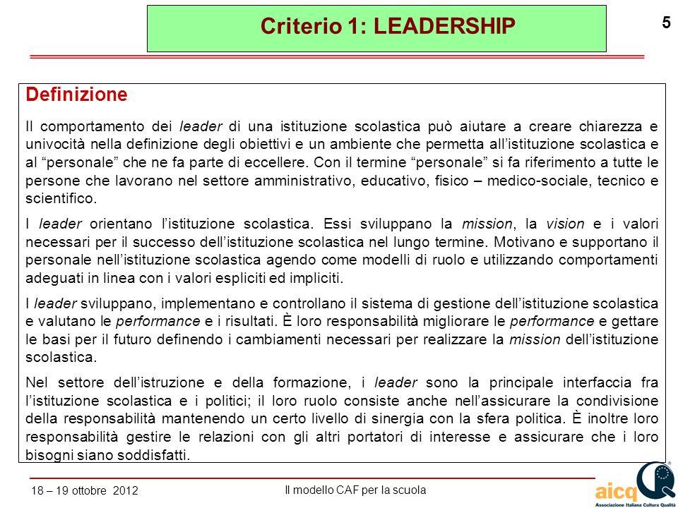 Lautovalutazione delle scuole secondo il modello CAF Il modello CAF per la scuola 18 – 19 ottobre 2012 5 Criterio 1: LEADERSHIP Definizione Il comport