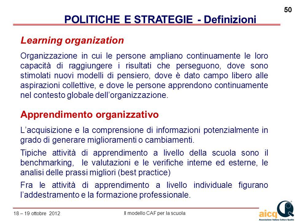 Lautovalutazione delle scuole secondo il modello CAF Il modello CAF per la scuola 18 – 19 ottobre 2012 50 Apprendimento organizzativo Lacquisizione e