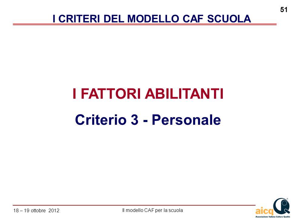 Lautovalutazione delle scuole secondo il modello CAF Il modello CAF per la scuola 18 – 19 ottobre 2012 51 I FATTORI ABILITANTI Criterio 3 - Personale