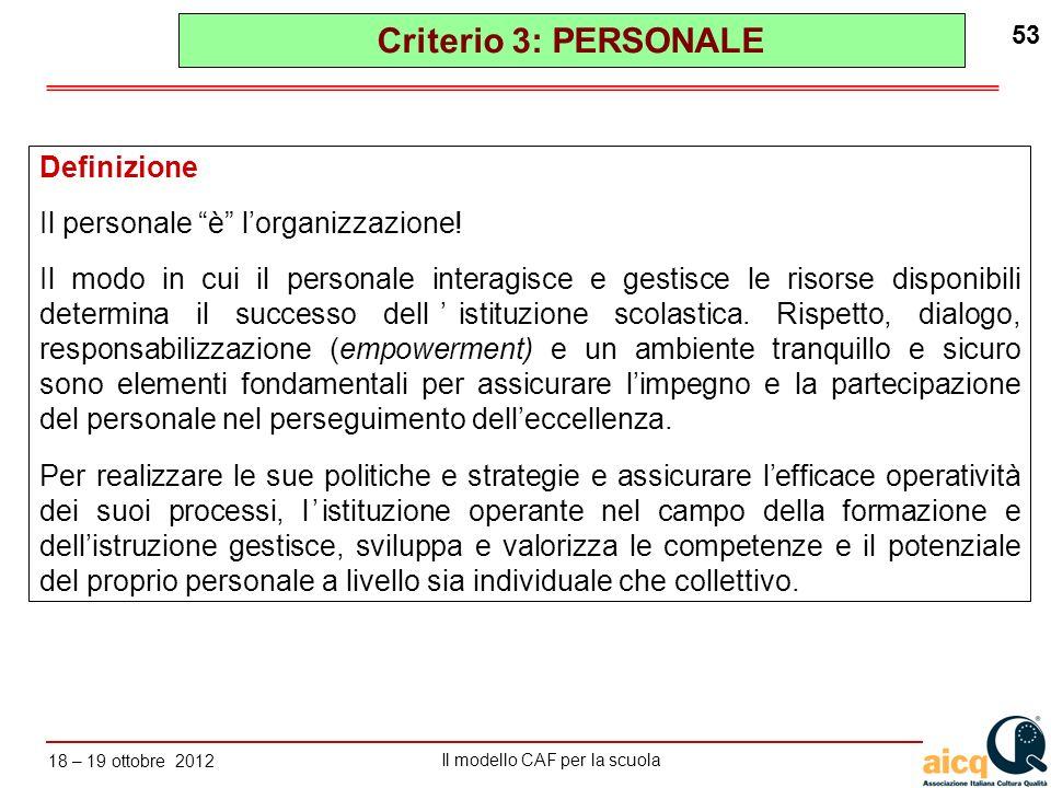 Lautovalutazione delle scuole secondo il modello CAF Il modello CAF per la scuola 18 – 19 ottobre 2012 53 Definizione Il personale è lorganizzazione!