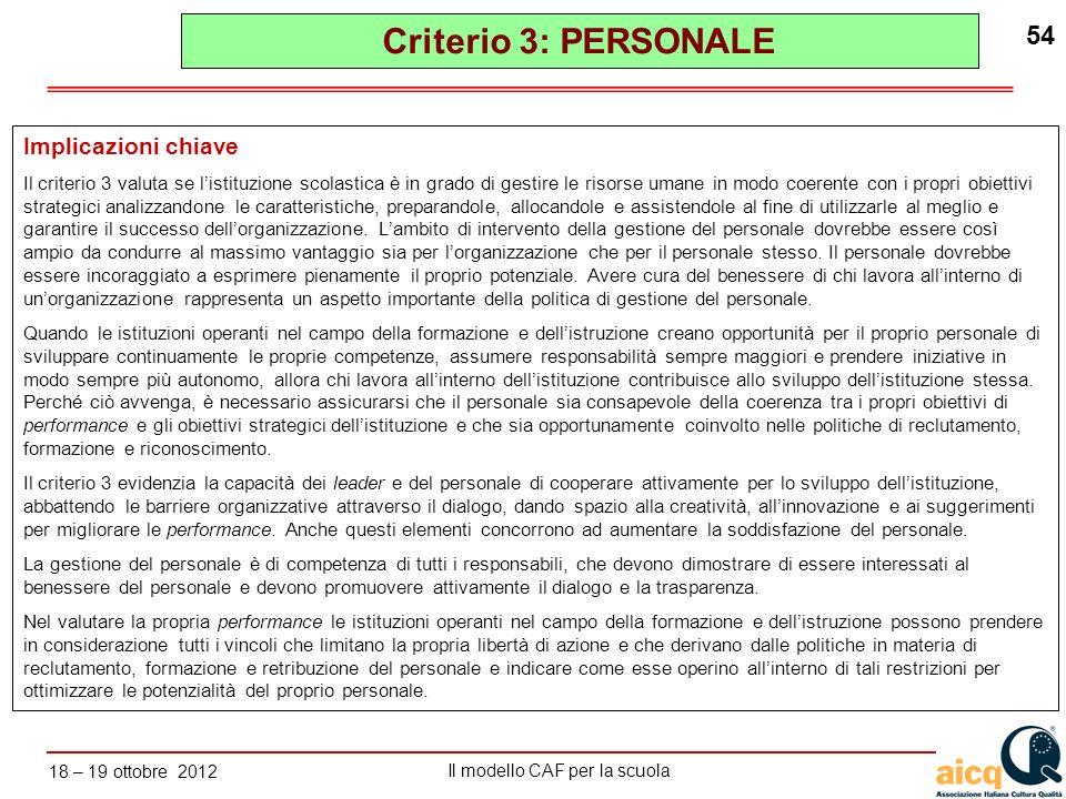 Lautovalutazione delle scuole secondo il modello CAF Il modello CAF per la scuola 18 – 19 ottobre 2012 54 Implicazioni chiave Il criterio 3 valuta se