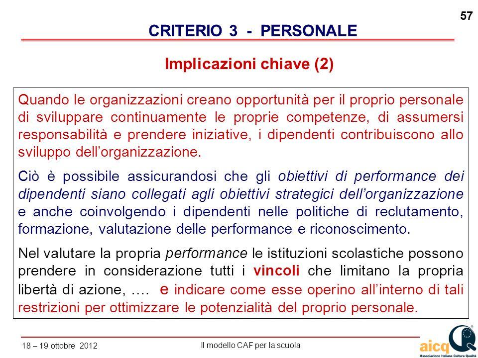 Lautovalutazione delle scuole secondo il modello CAF Il modello CAF per la scuola 18 – 19 ottobre 2012 57 Implicazioni chiave (2) CRITERIO 3 - PERSONA