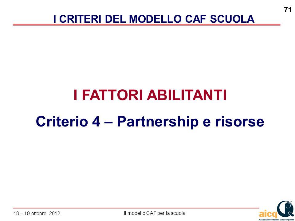 Lautovalutazione delle scuole secondo il modello CAF Il modello CAF per la scuola 18 – 19 ottobre 2012 71 I FATTORI ABILITANTI Criterio 4 – Partnershi