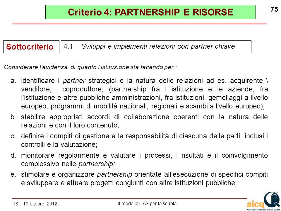 Lautovalutazione delle scuole secondo il modello CAF Il modello CAF per la scuola 18 – 19 ottobre 2012 75 a.identificare i partner strategici e la nat
