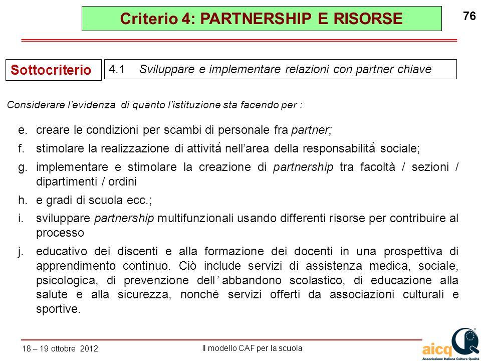 Lautovalutazione delle scuole secondo il modello CAF Il modello CAF per la scuola 18 – 19 ottobre 2012 76 e.creare le condizioni per scambi di persona
