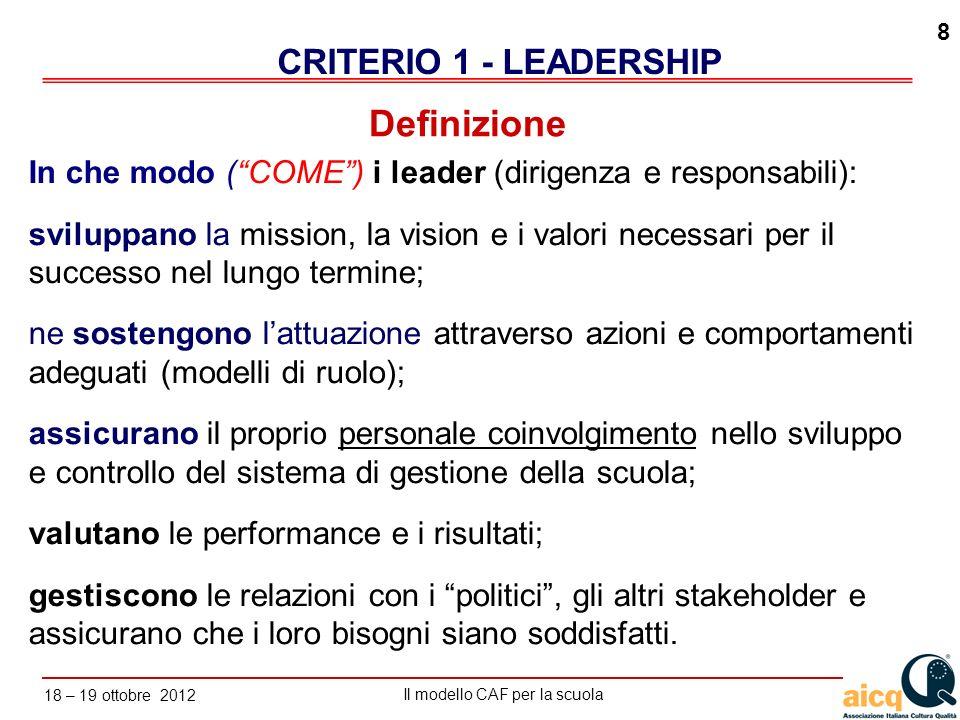 Lautovalutazione delle scuole secondo il modello CAF Il modello CAF per la scuola 18 – 19 ottobre 2012 8 In che modo (COME) i leader (dirigenza e resp