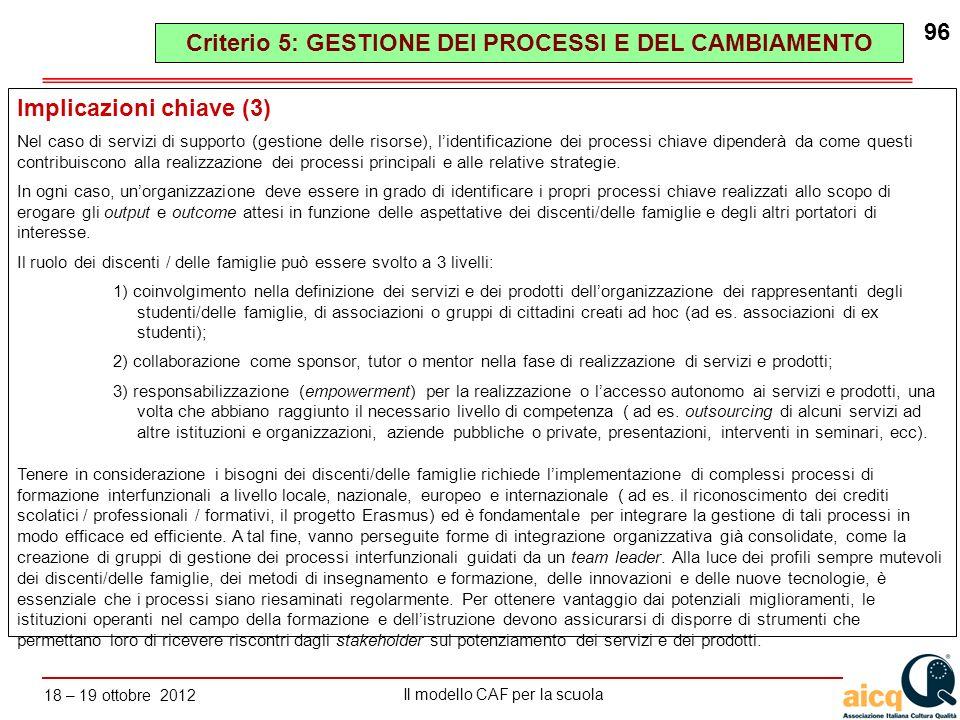 Lautovalutazione delle scuole secondo il modello CAF Il modello CAF per la scuola 18 – 19 ottobre 2012 96 Implicazioni chiave (3) Nel caso di servizi
