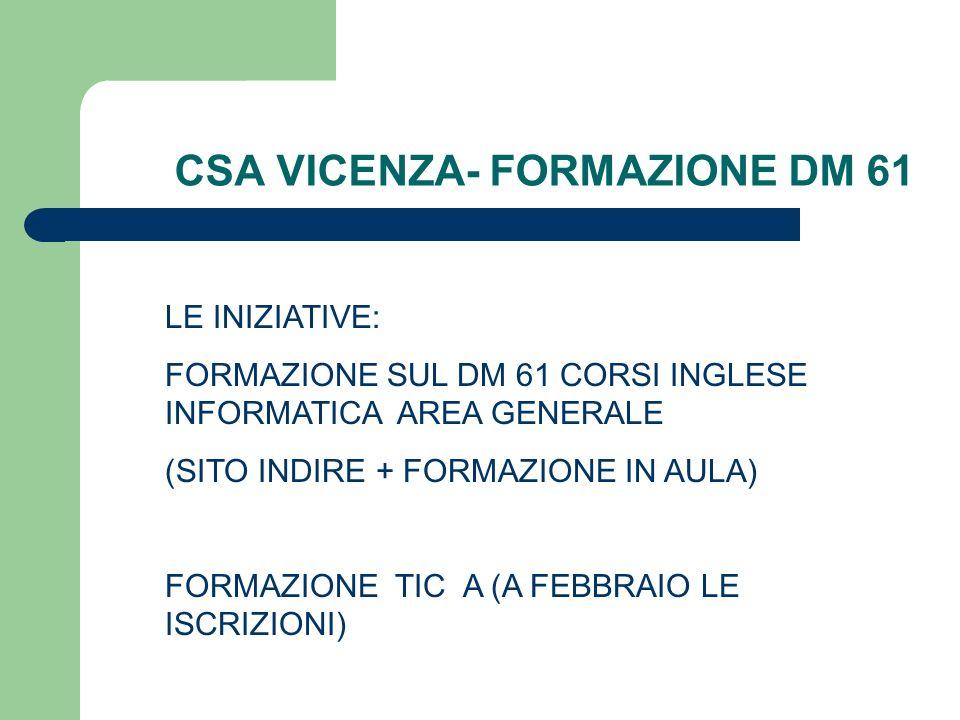 CSA VICENZA- FORMAZIONE DM 61 LE INIZIATIVE: FORMAZIONE SUL DM 61 CORSI INGLESE INFORMATICA AREA GENERALE (SITO INDIRE + FORMAZIONE IN AULA) FORMAZION