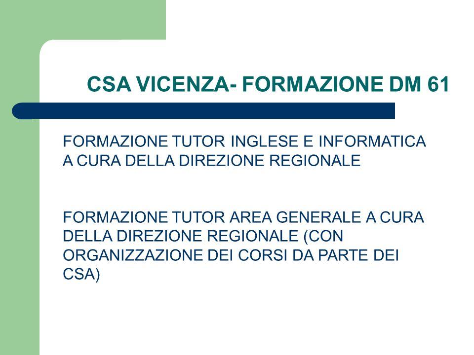 CSA VICENZA- FORMAZIONE DM 61 FORMAZIONE TUTOR INGLESE E INFORMATICA A CURA DELLA DIREZIONE REGIONALE FORMAZIONE TUTOR AREA GENERALE A CURA DELLA DIRE
