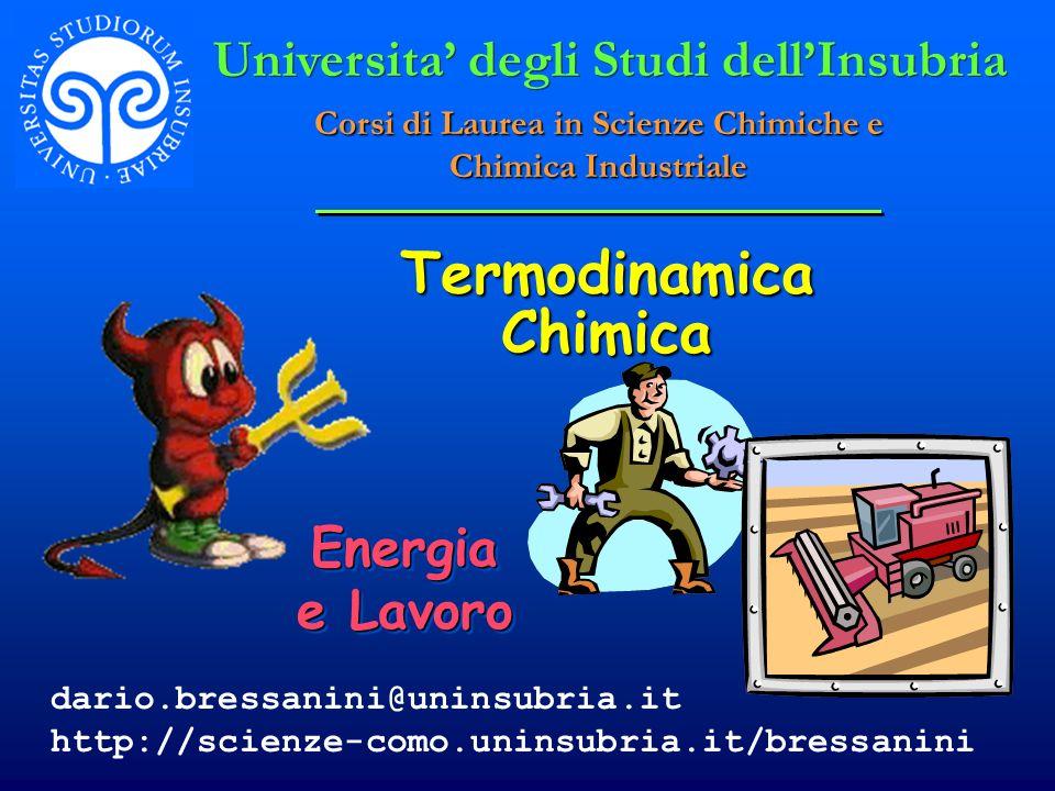 Termodinamica Chimica Energia e Lavoro Universita degli Studi dellInsubria Corsi di Laurea in Scienze Chimiche e Chimica Industriale dario.bressanini@