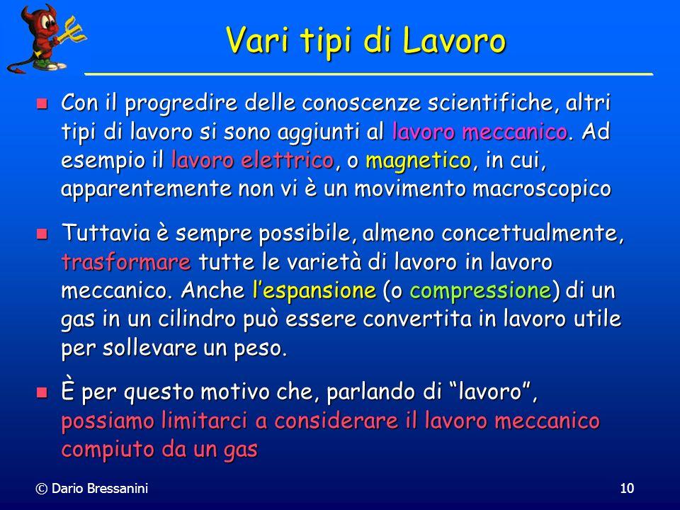 © Dario Bressanini10 Vari tipi di Lavoro Con il progredire delle conoscenze scientifiche, altri tipi di lavoro si sono aggiunti al lavoro meccanico. A