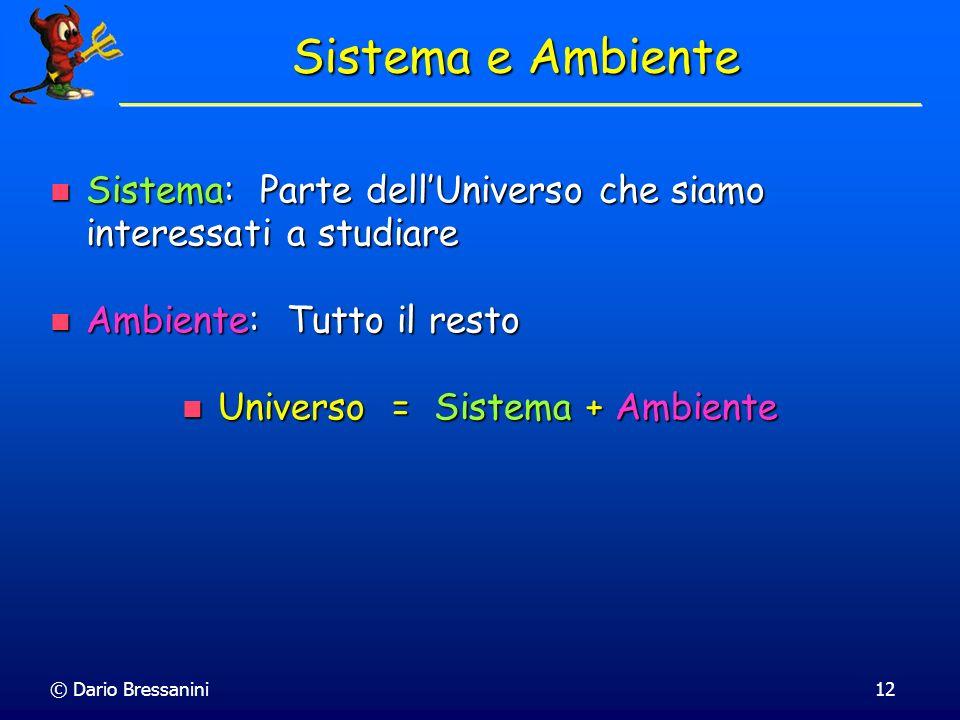 © Dario Bressanini12 Sistema: Parte dellUniverso che siamo interessati a studiare Sistema: Parte dellUniverso che siamo interessati a studiare Ambient