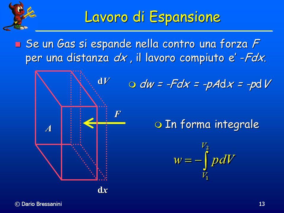 © Dario Bressanini13 Lavoro di Espansione Se un Gas si espande nella contro una forza F per una distanza dx, il lavoro compiuto e -Fdx. Se un Gas si e